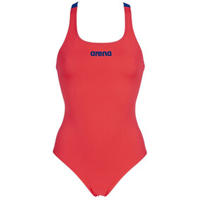 arena Solid Swim Pro One Piece Swimsuit Women fluo red/neon blue